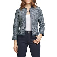 East Tile Print Quilted Jacket, Navy