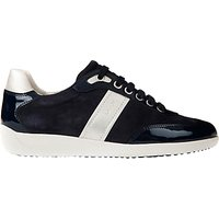Geox Myria Leather Lace Up Trainers, Dark Navy