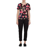 French Connection Bella Crepe Top, Black/Multi