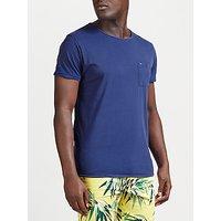 Scotch & Soda Twist Neck Pocket T-Shirt, Denim Blue