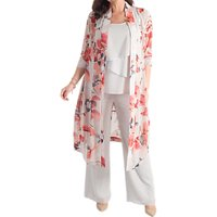 Chesca Floral Chiffon Coat, Silver Grey/Red