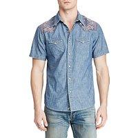 Denim & Supply Ralph Lauren Short Sleeve Cowboy Chambray Shirt, Antique Chambray