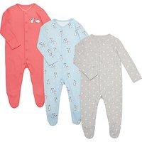 John Lewis Baby Rabbit Sleepsuit, Pack of 3, Pink/Multi