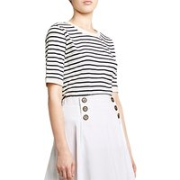 Winser London Cotton Jersey Striped T-Shirt, Ivory/Midnight Navy