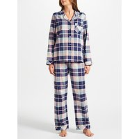 John Lewis Hannah Check Pyjama Set, Navy/Pink