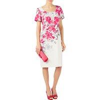 Jacques Vert Rose Print Shift Dress, Bright Pink/Multi