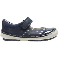 Clarks Childrens Softly Lou Rip-Tape First Shoes, Navy/White