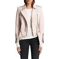 AllSaints Leather Balfern Biker Jacket, Washed Pink