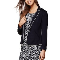 Yumi Nautical Stripe Fitted Blazer, Dark Navy