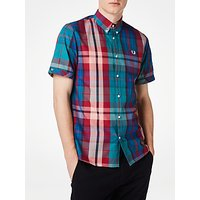 Gant Short Sleeve Bright Madras Plaid Shirt, Chalk