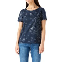 Sugarhill Boutique Map Print Button Back Top, Navy