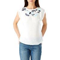 Sugarhill Boutique Jacqui Embroidered Top, Cream/Multi