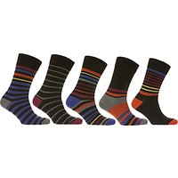 John Lewis Multi Stripe Socks, Pack of 5, Black/Multi