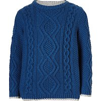 John Lewis Boys Cotton Cable Knit Jumper, Blue