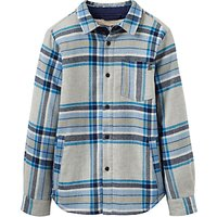 Joules Little Joule Boys' Sherpa Lined Check Shacket, Green Marl