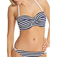 Freya Drift Away Stripe Twist Bandeau Bikini Top, Navy/White