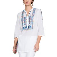 East Multi Colour Embroidered Blouse, White