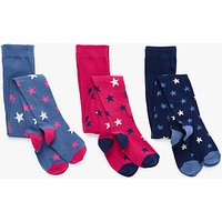 John Lewis Girls' Lurex Star Tights, Pack of 3, Navy/Pink