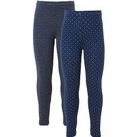 John Lewis Girls' Stripe And Polka Dot Leggings, Pack of 2, Grey/Blue