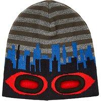 John Lewis Childrens Eyehole Beanie Hat, Grey/Blue/Red