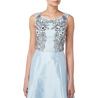 Raishma Floral Embroidered Sleeveless Crop Top, Blue