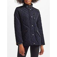 Lauren Ralph Lauren Faux Leather Trim Quilted Coat, Dark Navy