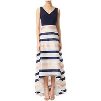 Adrianna Papell Jersey Organza Stripe High-Low Dress, Navy/Ivory/Pink