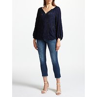 Velvet by Graham & Spencer Caleigh Eyelet Top, Navy/Black