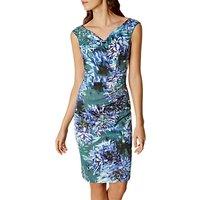 Karen Millen Floral Print V-Neck Dress, Multi