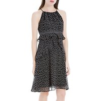 Max Studio Strappy Printed Frill Dress, Black