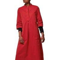 Toast Cotton Twill Tunic Dress, Scarlet
