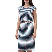Sugarhill Boutique Hetty Flamingo Stripe Dress, White/Navy