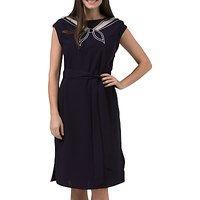 Sugarhill Boutique Ahoy Cutwork Embroidered Dress, Navy/Off White