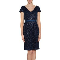Gina Bacconi Sequin Net Dress, Spring Navy