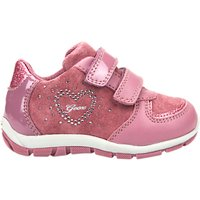 Geox Childrens Shaax Love Rip-Tape Casual Shoes, Pink