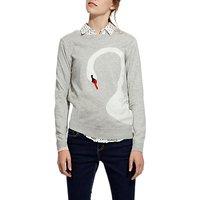 Joules Miranda Long Sleeve Intarsia Jumper, Soft Grey Swan