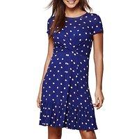 Yumi Spotted Frill Dress, Navy