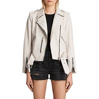 AllSaints Leather Balfern Biker Jacket, White