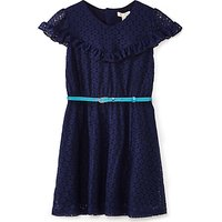 Yumi Girl Lace Ruffle Dress, Navy