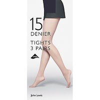 John Lewis 15 Denier Tights, Pack of 3