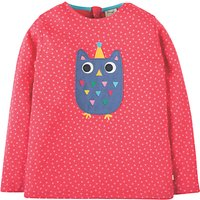 Frugi Organic Girls Erin Appliqu Owl Top, Pink