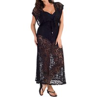 Chesca Lace Maxi Dress Cover Up, Black