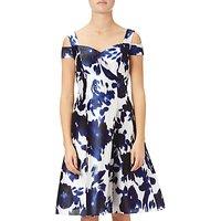 Adrianna Papell Iridescent Faille Sleeveless Cocktail Dress, Midnight/Ivory