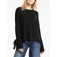 AND/OR Boucle Tie Sleeve Jumper, Black