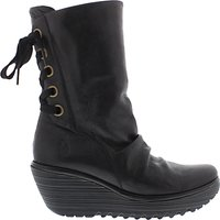 Fly London Yada Wedge Heeled Calf Boots, Black