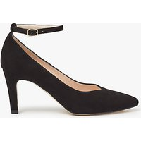 John Lewis Bessie Ankle Strap Court Shoes, Black Suede