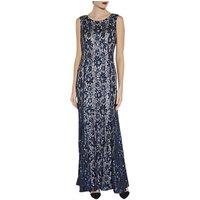 Gina Bacconi Beaded Lace Maxi Dress, Navy/Silver