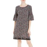 Max Studio Bell Sleeve Printed Dress, Black/Berry