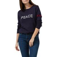 Sugarhill Boutique Peace & Love Chain-Stitch Sweatshirt, Navy