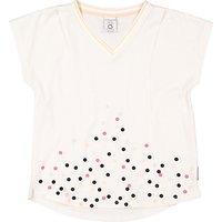 Polarn O. Pyret Girls' Dot V-Neckline Top, Cream